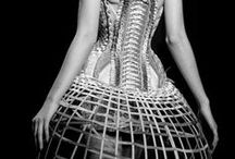 skeletal / bone structure, corsets, fishtail braids, fern, black and white things in nature