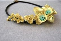 Handmade Flower Necklaces, Polymer Clay, Jewelry / Polymer Clay, Necklaces, Handmade, Roses, Flowers, Pendant, Leather Cord