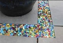 Garden Glass Marbles Mosaics / Colorful Garden Art of Glass Marbles and Pebbles, Glass Tiles, Sea Glass, Rocks, Stones.  Samples, Tutorials, Unique ideas, Best DIY adhesives and techniques.  Fairy Gardens, too.