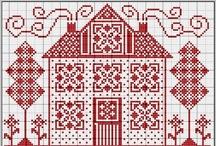 kruissteek- huisjes