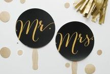 Glam   Wedding Inspiration / A glamorous black & gold colour palette is the perfect combination for an elegant, highly sophisticated, yet edgy wedding. The rich gold accents and sparkly features create a sexy and stylish look which will make your guests feel spectacular, whilst the black brings about a bold statement. Black & gold make for a fabulous Gatsby-style vintage wedding when lace, pearls & feathers are incorporated. For a sleek & modern theme you can add straight-cut lines, Perspex furniture and geometric prints.