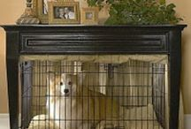 Decorative dog crates / Our dog loves her kennel. Inspiration for ways to make it look less noticeable in our family room.