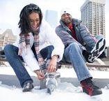 Winter Engagement shots {skating}