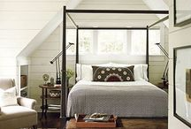 Handsome Bedrooms / Bedrooms, masculine, manly, handsome,  interior design, style, chic, wood, concrete, linens, beds, twin beds, canopy, cabin, sexy, dark, light, built in bed, Murphy Bed.