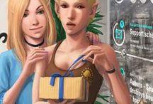 AHC Webcomic - B01C02 (ger) / Webcomic - Buch 01, Kapitel 02: Ein Comic, welcher im Shadowrun-Universum angesiedelt ist. Primäre Akteure in diesem Comic sind die 3 Runnerinnen Eclipse, Headshot & Nia, welche in den Schatten von Seattle ihre Arbeit verrichten. Die Erzählung beginnt im Jahre 2064 kurz vor dem Crash2.0 und führt die Geschichte der 3 Runnerinnen fort. Der Comic beleuchtet zwar primär einen Teil des erotischen Alltagslebens der Hauptcharaktere, erzählt aber auch von ihren Abenteuern in den Schatten des Megaplex.