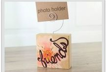 Spring Photo Holders / Inspirational, natural urban wood photo holder blocks 3x3x1 inch. The meaning of each flower and corresponding message are on the back of each block.