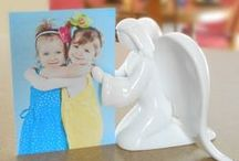 Prayer Angel Figurines / The Prayer Angel is a beautiful way to keep your loved ones close. She can hold greeting cards, pictures, memorial cards, and special notes. Every time you see the angel, your loved ones will be on your mind and in your heart. The Prayer Angel is made of high quality porcelain. The story of how we created the Prayer Angel and ideas of use are included with each angel.