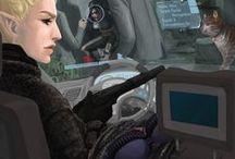 AHC Webcomic - B01C05 (ger) / Webcomic - Buch 01, Kapitel 05: Ein Comic, welcher im Shadowrun-Universum angesiedelt ist. Primäre Akteure in diesem Comic sind die 3 Runnerinnen Eclipse, Headshot & Nia, welche in den Schatten von Seattle ihre Arbeit verrichten. Die Erzählung beginnt im Jahre 2064 kurz vor dem Crash2.0 und führt die Geschichte der 3 Runnerinnen fort. Der Comic beleuchtet zwar primär einen Teil des erotischen Alltagslebens der Hauptcharaktere, erzählt aber auch von ihren Abenteuern in den Schatten des Megaplex.