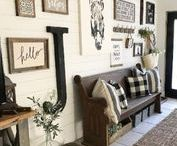 Farmhouse Decor / Whitewash, rustic, woody -- all coming together to create a comfortable, lived in country look. Farmhouse decor inspired by today's hottest HGTV trend. See how to dress up walls and more with picture frames and art that match the look. #homedecor #walldecor #style