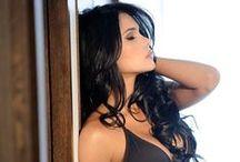 Sexy long dark haired women