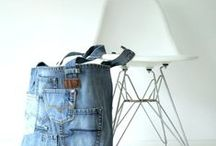 upcycled jeans products / daily used products made of recycled old jeans