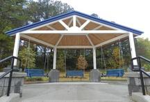 Poligon/Parasol/Pinnacle Park Architecture / Steel Shelters, Gazebos, Pavilions, Fabric Shade Shelters