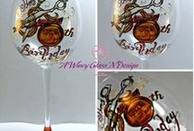 Custom Wine Glasses By A Wincy Glass N' Design / Wedding Glasses - Are you having a vintage, wine country, garden or destination wedding?  Which ever style it may be, you can be assured that you will find your authentic style right here. A Wincy Glass 'N Design, LLC takes pride in ensuring that your unique style is captured and reflected in hand painted wine glasses on your special day.