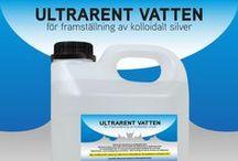 ULTRARENT VATTEN för framställning av kolloidalt silver / Vatten för tillverkning av kolloidalt silver.  Ultrarent vatten utan salter och mineraler för tillverkning av kolloidalt silver.  En nödvändighet för att silverjonerna skall förbli i kolloidal form och inte  bilda kluster, (sammanslagning av partiklar), vilket kraftigt försämrar kvalitet och hållbarhet.  Obs: destillerat eller avjoniserat vatten är inte tillräckligt rent för produktion av kolloidalt silver.  Innehåll: Ultrarenat vatten av livsmedelskvalitet.