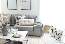 Scandi Living Room Inspiration / Home Decor / Scandi Scandinavian living room, monochrome and some pastel blush pink tones and shades, colours. Minimalist design, black and white.