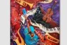"""Music Themed Paintings and Fine Art Prints By Juleez / Juleez Music Themed Paintings and Fine Art Prints By artist Julie Borden capture """"Painted Music"""" with color and style"""