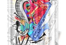 Jazz & Music Theme Lifestyle by Juleez / I Love Jazz, Music, Gifts and Clothing with original artwork by Juleez. Jazz Gifts, Music Gifts, Musician Apparel