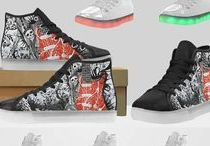 LED Light Up Guys & Men's High Top sneakers / LED Light Up Guys High Top Sneakers with color changing patterns or solid colored lights.  Choose a design or order a custom design, logo or team colors. USB mini charge keeps them lit for 2 hours or recharge in a few minutes.
