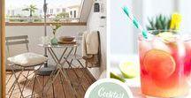 Cocktail en terrasse / Profitez d'un grand bain de soleil en terrasse ou sur votre balcon grâce à notre sélection meubles/déco : des lanternes design, des paniers en rotin et des tables colorées. Tout pour passer un bon moment ensoleillé !
