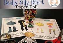 """RSR-Day / Pictures from """"I Got the Really Silly Robot"""" (a free printable paper robot)."""