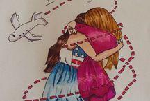 My friends and me / Pour faire des cadeaux à tes amies ,ou des dessins viens sur ce tableau!!!