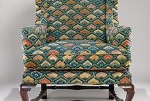 18th century flame stitch chairs, panels, etc.