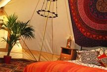 Our Honeymoon Tent / We have a 6 metre Emperor Ultimate Bell Tent available for you to hire for your wedding night. We can pitch the tent for you anywhere on the Bo Peep grounds.  It comes complete with its own double size bed, luxury bed linen, Moroccan themed furnishings, soft lighting and romantic tea light chandeliers.  We can also offer you a continental breakfast for you to enjoy when you wake up in the beautiful countryside.  For those of you not quite into the Glamping, it also comes with heating!