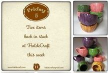 HaldeCraft Shop Updates / About every two weeks, I update HaldeCraft. Sometimes it can be all of something (all ceramics, or all yarn) and sometimes it can be a mix. Here are collages of everything that was listed in that update!