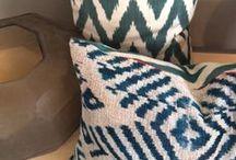 ananeo / Handmade Ikat-silk and velvet cushions.