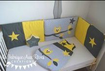 Décoration chambre enfant gris et jaune / Décoration chambre enfant gris et jaune