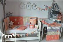 Décoration chambre enfant bébé corail abricot pêche doré / coral salmon gold grey nursery