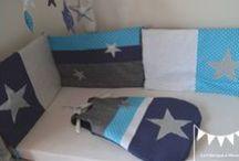 Chambre d'enfant bébé garçon bleu gris argent blanc / décoration chambre enfant bébé garçon bleu marine blanc gris bleu turquoise argent