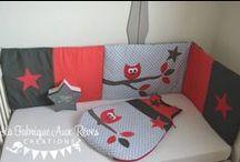 Décoration chambre bébé rouge et gris / Red grey nursery