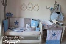 Décoration chambre bébé bleu gris blanc
