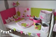 Décoration chambre bébé fuchsia anis rose poudré