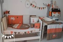Décoration chambre bébé savane orange chocolat marron beige