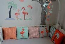 Chambre bébé flamant rose mint menthe corail saumon gris / Décoration chambre bébé mint menthe corail saumon gris