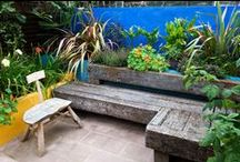 Mexican Frida Kahlo Garden, Leytonstone East London / The theme of the design is based on the distinctive garden of Frida Kahlo, with a strong colour palette of cobalt blue and zingy yellow.