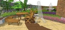 Curvey garden design in Hockley / The client has lived in this new build property since it was built around three years ago. As is often the case with new builds the garden has little of interest offer – a very small patio, lawn and no planting. The client wishes to maximise the outdoor space and create two areas for dining and relaxing. They have a seven-year-old daughter which they would also like to make provision for in the space. The client has a love of plants and would like a modern feel with some seasonal variety.