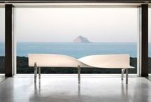 CALA Bench / Made in KRION® Solid Surface by Porcelanosa with stainless steel legs.