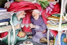Inge Löök's old ladies / Inge Löök's Merry Aunties Born in 1951, Helsinki, Finland. Des peintures qui font du bien ! Excellent !   It was in the mid-70s that Inge Löök started working both as a graphic artist and as a gardener. At the same time, she started illustrating books and other printed material as a freelancer for various employers. Today, she feels that her drawing requires the gardening tasks to balance her every day life. When it rains and it's dark outside it feels fine to stay inside, but not when the sun shines and it's warm. Everything in life is about balance. It's a great joy and fortune to do what one really enjoys.
