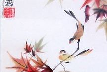 Birds in Love / Flower-bird Chinese brushpainting compositions often show a pair of birds, an ancient symbol of fidelity. A look at brushpaintings on ceramics and rice paper by Tracie Griffith Tso of Reston, Va. Learn more at Inksart.com about her work and exhibits at the Torpedo Factory Art Center in Alexandria, Va. / by Tracie Griffith Tso