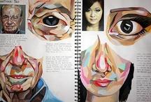 Inspiration Sources / Pile of inspirations on board, sketchbook & scrapbook.