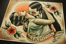 Tattoo flash art / Ink on paper