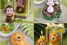 Circus Themed & Jungle Themed Baby Favors / Circus animal and jungle critters favors are all perfect for baby shower.  They are adorable candles, key chains, place card holders ...