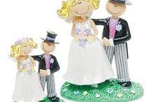 Bride and Groom Themed Wedding Favors / Bride and Groom themed wedding favors include many types of favors.  Bride and groom candle, salt and pepper shaker, bottle stopper ..