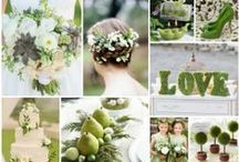 Green Wedding Ideas / Green centerpieces, favors, dresses, and accessories.