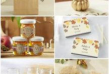 Fall Wedding Favors / Fall wedding favors include fall leaf candle, fall leaf place card holder, fall leaf soap, fall leaf bottle stopper and more. #Fall #Autumn #wedding #gift