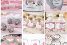 Pink Elephant Baby Shower / Pink and grey little peanut elephant shape baby shower or little girl birthday