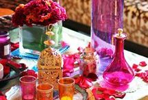 Moroccan Theme Party / When I think of Moroccan, I think Bold Brights Colors,Rich Cultures, Gold, Bronze, Colorful Pillows and Silk, Hugging  lantern everywhere, Fine Cuisine and Everything Moroccan can offers.